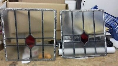 2 x  British leaded light stained glass windows