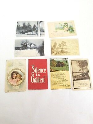 Vintage Postcards Lot of 8 pre 1915 Sayings Glitter Some Posted Mixed Lot