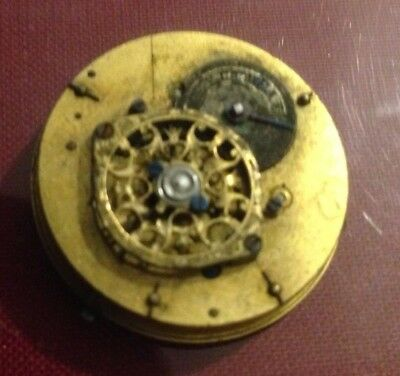 Small, french, verge escapement movement,26mm,canonpinion snapped, project