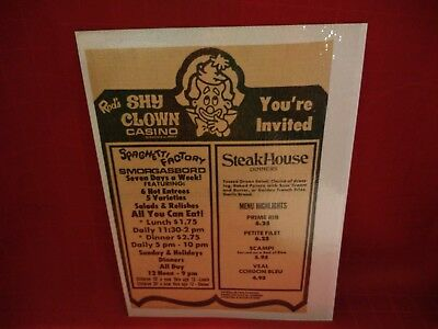 Orig.1970's **casino Print Ad**    *****rod's Shy Clown Casino*****  Sparks,nv
