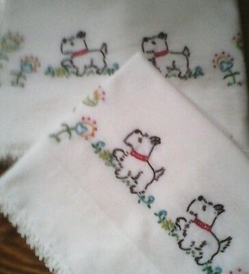 Vintage Embroidered Pillowcases (One Pair HIGH QUALITY)  Scottie Dogs Embroidery