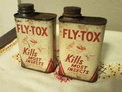 2 - Vintage FLY-TOX Insecticide Can 6 OZ. Fly Spray Bug Killer Rex Research 1937