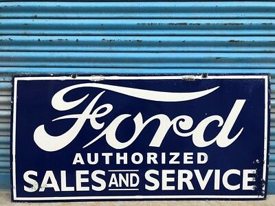 Large Ford Authorized Sales And Service Porcelain Enamel Sign