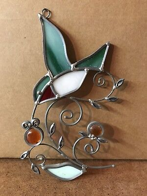 Vintage Artisan Stained Glass and Lead Hummingbird Suncatcher