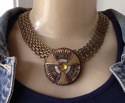 Stunning Vintage Necklace Mesh Collar W/ Antique Egyptian Revival Centerpiece