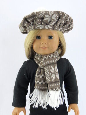 For 18 Inch American Girl Doll Clothes Snowflake Knit Hat & Scarf 2 Piece Set