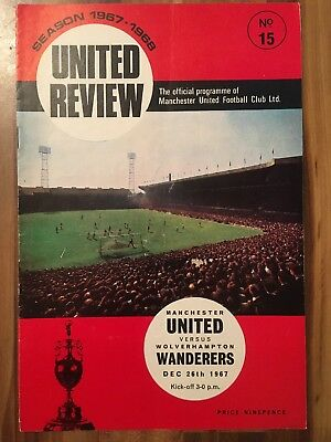 Manchester United V Wolverhampton Wanderers Programme Division One 26/12/67