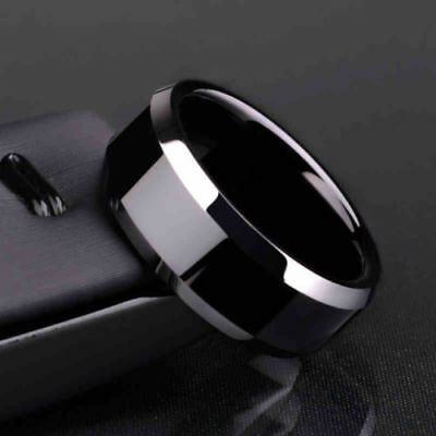 Mens 8Mm Black Titanium Stainless Steel Fashion Rings - New - Canada