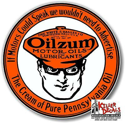 "3"" OILZUM MOTOR OILS decal lubster gas pump gasoline oil man cave"