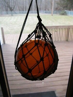 "Antique VTG Japanese Amber Glass Fishing Float w Rope 6"" Diameter"