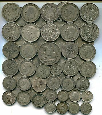 CROWN TO SIXPENCES: £5 of pre 1947, 9 tr oz pure silver equivalent, some better