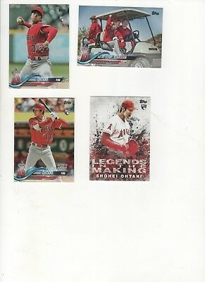 (Lot of 4) Different 2018 Topps SHOHEI OHTANI ROOKIE Year Cards (2018 A.L. ROY)