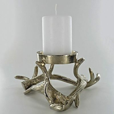 NEW 2PC STAGGERED ORNATE REINDEER DEER CANDLE PILLAR HOLDERS ANTIQUE SILVER