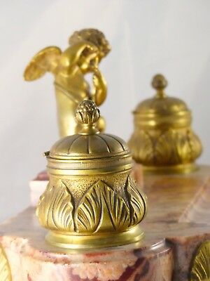 ANCIEN ENCRIER BRONZE & MARBRE XIXè ANGELOT / ANTIQUE INKWELL DESK 19th CHERUB