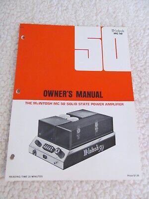 McIntosh MC 50 Stereo Solid State Power Amplifier Owner's Manual