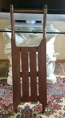 ANTIQUE PRIMITIVE Childs Wood Sled Cast Iron Runners