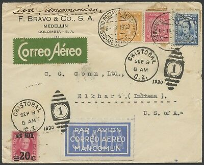 Colombia SCADTA 1930 Cover Medellin to USA via Cristobal Canal Zone