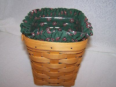 LONGABERGER GREEN PRINT LINER ONLY for 1992 SOA BITTERSWEET BASKET small spoon
