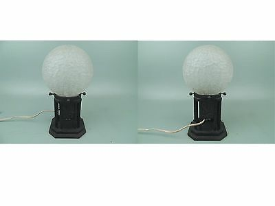 Vintage French Art Deco Wrought Iron Table Lamp Textured Glass Shade 1920 VR