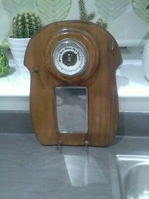 Vintage Wooden Art Deco Hallway Barometer with mirror and hooks