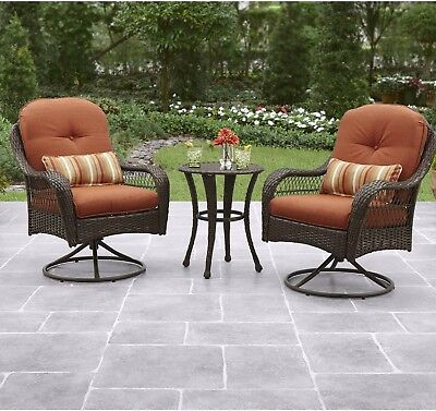 3-Piece Patio Furniture Swivel Wicker Chairs & Table Steel Frame Outdoor Garden