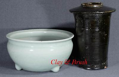 Chinese antique porcelain celadon censer and green glazed Han dyn granary