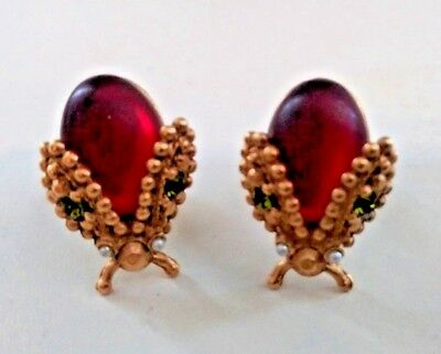 Rare Vintage Antique Cuff Links Mens Womens Art Deco Lady Bug Jewel Seed Pearl