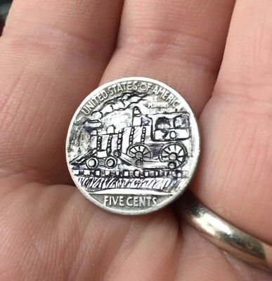Hobo Nickel Hand Carved Engraved Train OHNS Love Token Locomotive