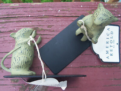 """NIB BOOKENDS/BOOK SHELF Green Patina Finish ~ 4""""x3"""" HANDCRAFTED MOUSE Adorable!"""