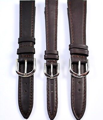 Brown Stitched Genuine Leather Watch Strap Chrome Buckle & Free Pins 14,16, 20mm
