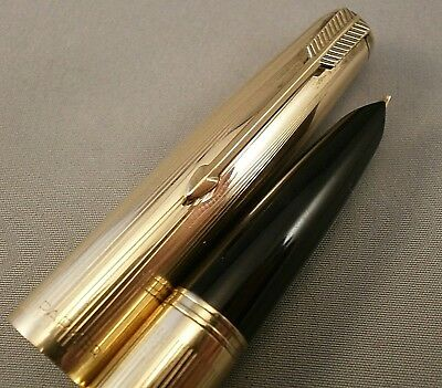 Parker 51 aerometric fountain pen and pencil set 12ct rolled gold