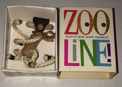 Zoo Line Match Box Rope Monkey Vintage Animal Collectible Made in Japan