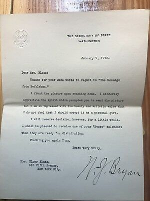 1915 Signed Letter William Jennings Bryan to Women's Peace Leader Black