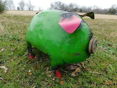 "Mexican Metal Art 18"" Drum Metal Oil Barrel Farm Pig Home Garden Patio"