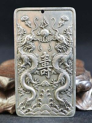 Vintage Old Silver Copper Hand-carved Pendant Double sided Dragon China 壽 Emboss