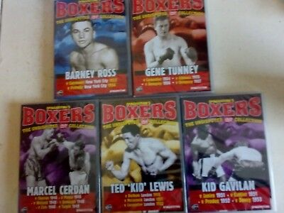 """DeAGOSTINI""""S BOXERS (5) UNDISPUTED DVD COLLECTION -  ROSS/TUNNEY/LEWIS/CERDAN"""