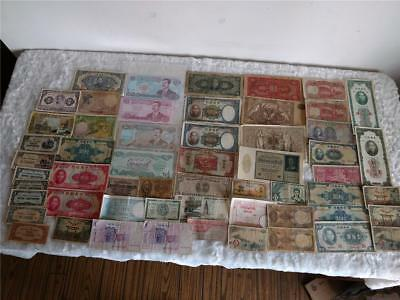 Lot of 57 Vintage Mixed Foreign Banknotes Money Paper World Currency Circulated