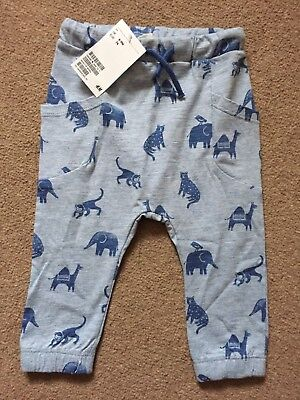 H&M Boys Blue Animal Print Trousers 6/9 Months New With Tags