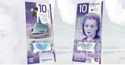 Canada's new $10 Ten Dollar Polymer banknote, issued Nov 19, 2018  (UNC)