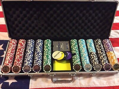 500 Numbered Chips Poker Set With Playing Cards Etc In Case Casino