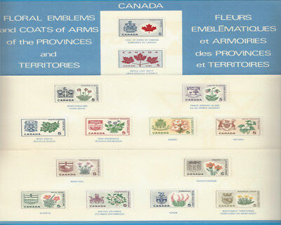 Canada 1964-1966 Provincial Flowers And Coats Of Arms Scott* 417 To 429A