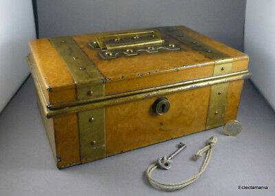 Scarce Victorian Cash Box with Faux Wood Grain Paint Finish - Working Lock & Key