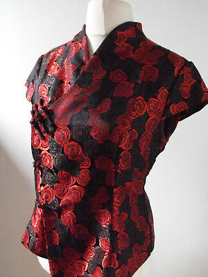Red & Black Brocade Rose Print Vintage Noir Oriental Mandarin Collar top Sz 14