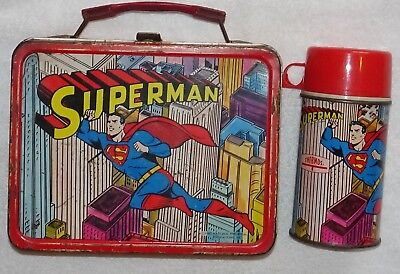 1967 Superman Lunchbox (nice graphics) AND Thermos (Excellent Condition)
