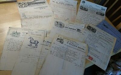Job Lot Of Early 1900 : Blacksmith Pictorial Invoices Horse Shoer Wheelwright