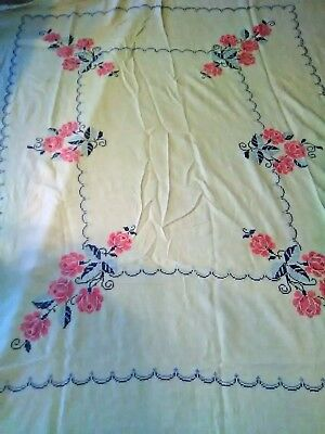 Vintage Embroidered and Cross Stitch Tablecloths Lot of 5