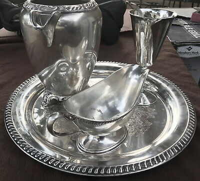 W.m A Rogers,F.B Rogers Silver-plated Tray, Pitcher, Wine Goblet, Gravy boat cup