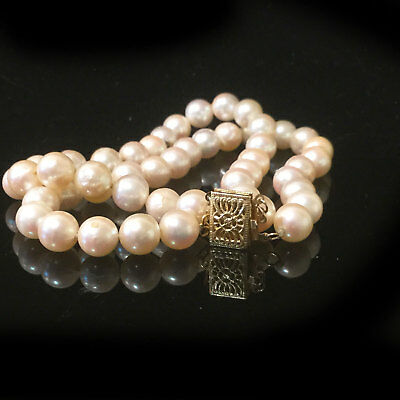 Cultured Akoya Saltwater 6.5 mm pearl bracelet on 14ct, 14k, 585 Gold Clasp