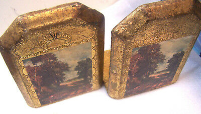 Vintage Florentine Wood Gold Gilt Bookends marked C.E. Made In Italy has picture