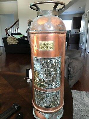 Antique THE UNDERWRITERS FIRE EXTINGUISHER Copper & Brass